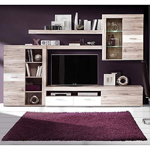 DECOR NATUR-Composicion Salon con Leds Modelo Frame, Color Roble Arena y Blanco, Medidas: 300x 200 x 41/39 cm