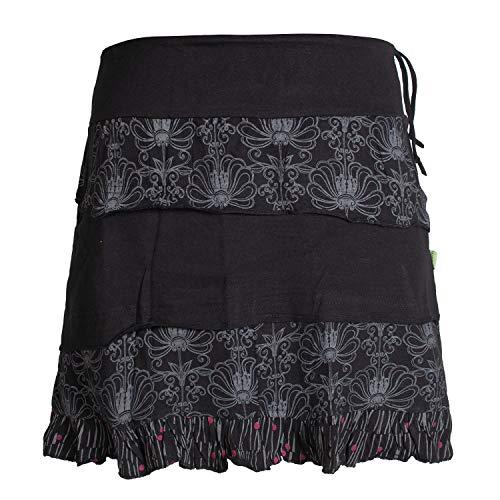 Vishes - Alternative Bekleidung - Damen Patch-Work Rüschen-Rock - Breiter Dehnbarer Bund und Taschen schwarz 42