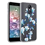 kwmobile Clear Case Compatible with LG K8 (2018) / K9 - TPU Smartphone Backcover - Magnolias Blue/Violet/Transparent