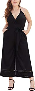 Just for Plus Women Plus Size Backless Deep V Neck Sleeveless Long Jumpsuit,XL-4XL
