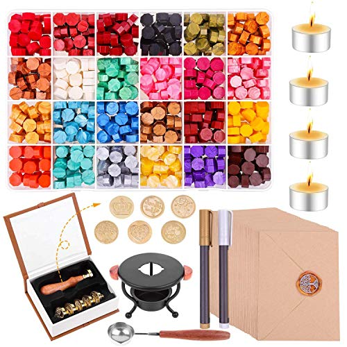 Wax Seal Stamp Kit, Paxcoo 785pcs Wax Seal Kit with Sealing Wax Beads, Wax Seal Stamp, Envelopes, Wax Seal Warmer, Wax Spoon and Tealight Candles for Letter Sealing, Crafts