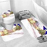 NHSY Juego de cortina de ducha con estampado de alce de Navidad azul con alfombrilla antideslizante para inodoro, alfombra de baño, decoración del hogar con ganchos. - 3 unidades