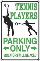 ヴィンテージルック複製サイン、テニスプレーヤー駐車場のみ警告サイン私有財産のための金属屋外危険サイン錫肉サインアートプラークキッチンホームバー壁の装飾