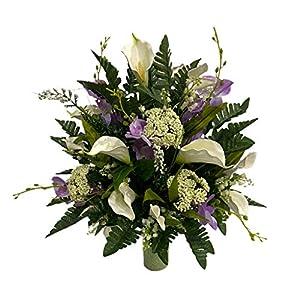 Lilies, Orchids Cemetery Flower Arrangement, Headstone Vase Insert, Grave, Cone Insert, Tombstone vase Arrangement, Cemetery Flowers CC4223
