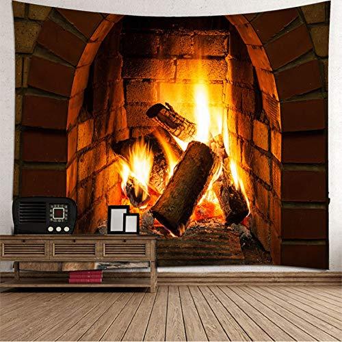 Tapiz de Navidad para colgar en la pared, colcha de mesa, cabecero, tapiz de fuego para dormitorio de 118 x 102 pulgadas