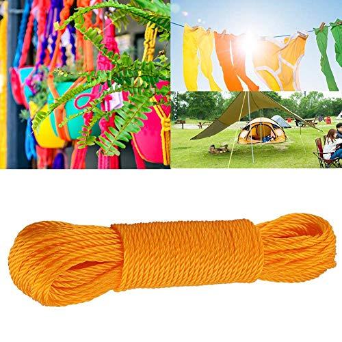 Duokon 20 m Cuerdas de Nylon Cuerda Cuerda para Tender la Ropa Cuerda para Colgar Ropa de Secado Jardín Acampar Aire Libre Viajar (Naranja)