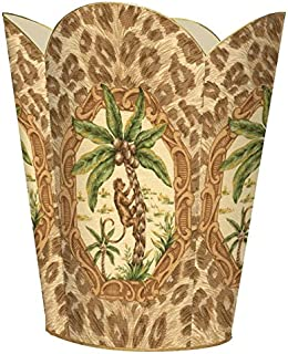 Marye-Kelley WB222-Monkey and Palm Tree with Leopard Print Wastepaper Basket