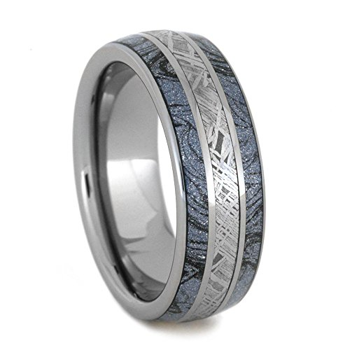 Blue and Black Cobaltium, Gibeon Meteorite 8mm Comfort-Fit Tungsten Ring, Size 7.5