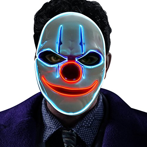 GOODNEW Halloween El Wire Light Up Clown Mask, Cosplay LED Mask for Festival