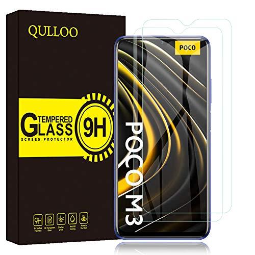 QULLOO Panzerglas Schutzfolie für Xiaomi Poco M3 / Redmi Note 8 Pro, [2 Stück] HD Displayschutzfolie Anti-Kratzen Panzerglasfolie Handy Glas Folie für Xiaomi Poco M3 / Redmi Note 8 Pro