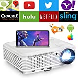 Wireless WiFi HDMI Android Projector 4600 Lumen LCD LED Smart Multimedia Video...