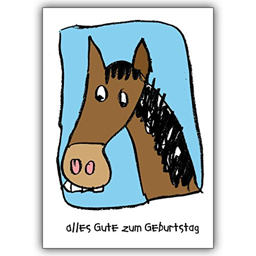 Wenskaarten met korting voor hoeveelheid: grappige verjaardagskaart voor meisjes en ruiters met paard • nobele felicitatiekaart voor verjaardag met envelop voor vrienden en familie 16 Grußkarten
