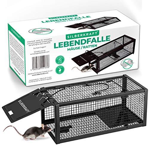 Silberkraft Mäusefalle aus Draht, Lebendfalle für Mäuse und Ratten, tiefreundlich, Wiederverwendbare Rattenfalle, sinnvolle Alternative zu Schlagfallen, Mäusegift Oder Rattengift.