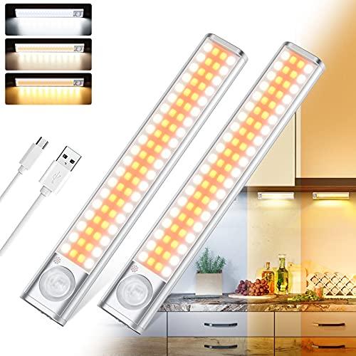 Iluminación LED para armario con detector de movimiento, 80 luces LED recargables con sensor de movimiento, adecuado para armario, habitación de los niños, pasillo, dormitorio, cocina