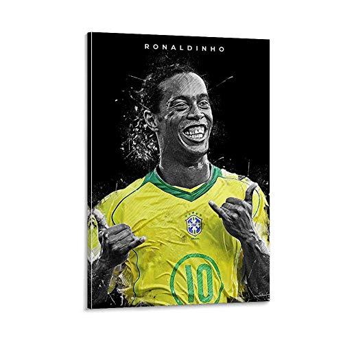 ASDFK Ronaldinho - Póster de superestrella de fútbol, póster deportivo, póster de fútbol, póster de regalo, lienzo y arte de pared, impresión moderna para decoración de dormitorio familiar, 50 x 75 cm