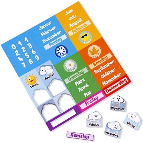 Magnetteile für aeioubaby Kalender auf Deutsch | Magnetische Kalenderuhr für Kinder, Lernspiel | Tag, Datum, Monat, Station, Wetter