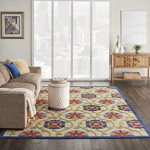 "Nourison Aloha Blue/Multicolor Easy-Care Indoor/Outdoor Area Rug 7'10"" x 10'6"", 7'10""X10'6"", Multi"