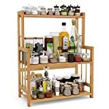 3-Tier Standing Spice Rack LITTLE TREE Kitchen Bathroom Countertop Storage Organizer, Bamboo Spice Bottle Jars Rack Holder with Adjustable Shelf, Bamboo