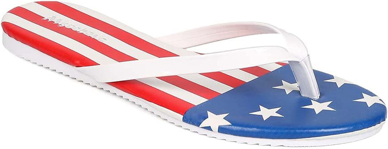 Misbehave EH29 Women Patent Leatherette Stars and Stripes Thong Sandal - Flag