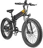 Bicicleta eléctrica de nieve, Plegable bicicleta eléctrica for adultos E-Bici de 26 pulgadas Neumáticos bicicleta de montaña eléctrica, bicicletas plegable de altura ajustable portátil con LED de luz