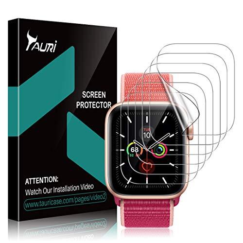 TAURI [6 Pezzi Pellicola Protettiva Compatibile con Apple Watch Series 5 44mm,Pellicola Protettiva in TPU HD Trasparente [Senza Bolle] [Installazione Facile]