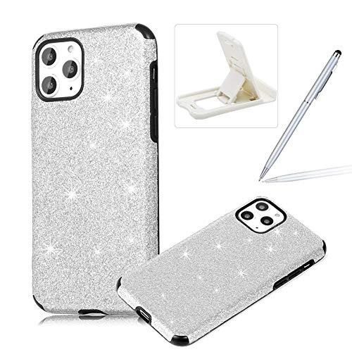 Find Discount Silver Glitter TPU Case for iPhone 11,Soft Silicone Case for iPhone 11,Herzzer Luxury Diamond Soft Gel Anti-Scratch Abrasion Resistance Rubber Bumper Case