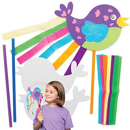 Baker Ross Vogel Zauberstäbe Bastelset für Kinder (8 Stück) Kreativsets zum Basteln und Dekorieren zur Frühlingszeit