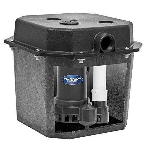 Superior Pump 92072-U 1/3 HP Remote Sink Drain Pump System, Black