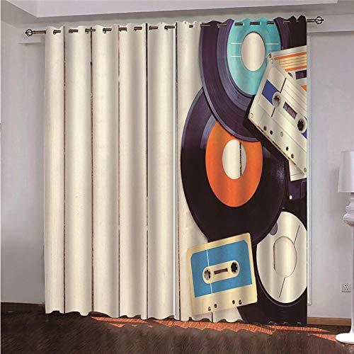 Ojales Cortinas 140 x 300 cm Disco de Color Opacas Reduccion Ruido Aislantes Cortinas Cortina de poliéster de impresión 3D para Dormitorio Infantil 2 Pieza