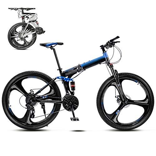 YRYBZ 24 Pulgadas 26 Pulgadas Bicicleta de Montaña Unisex, Bici MTB Adulto, Bicicleta MTB Plegable, 30 Velocidades Bicicleta Adulto con Doble Freno Disco/Blue/A Wheel / 24'