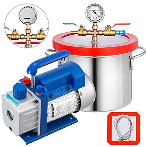 Bestauto 1 Gallon Vacuum Degassing Chamber Stainless Steel Degassing Chamber 3.8L Vacuum Chamber Kit with 3 CFM Single Stage Vacuum Pump(3CFM Vacuum Pump + 1 Gallon Vacuum Chamber)