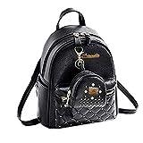 Floki Women Leather Backpacks Students School bags for Girls Teenagers Travel Rucksack Small
