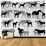Tapestry Wall Hanging Gallop Horses Mares White Foals Recreation Breading Allure Active Run Walk Design Galloping Moving Tapestry Decor Living Room Bedroom for Home