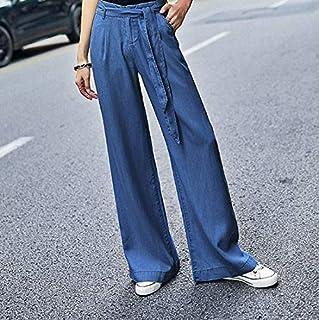 Las Mujeres de Cintura Alta Tencel Pantalones Vaqueros Mujer Pierna Ancha de los Pantalones Vaqueros Pantalones Vaqueros L...
