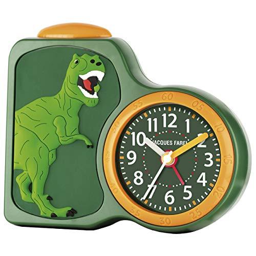 JACQUES FAREL Kinderwecker Jungen Dinosaurier grün ohne Ticken, mit Licht und Snooze ACB 06DINO