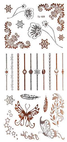 Oh My Shop - TJR20 - Planche Tattoo Tatouage Ephémère Body Art Symboles et Bagues - Argent/Or Rose