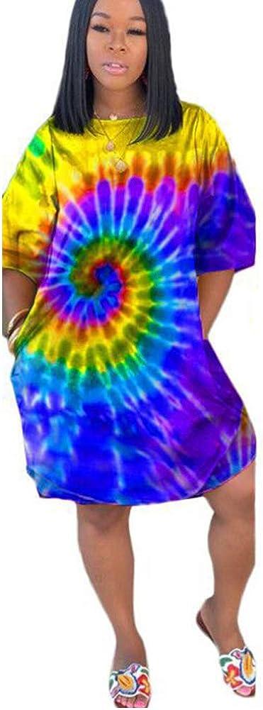 OLUOLIN Womens Tie Dye Ombre Printed Half Sleeve O Neck Tunic Swing Irregular T-Shirt Midi Dress Plus Size