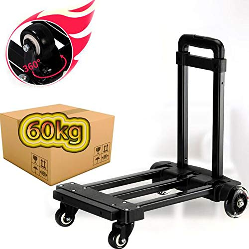Heavy Duty 60kg Loading Capacity Folding Foldable Hand Sack Truck Barrow Cart Trolley Industrial Warehouse Hand Truck, Sack Truck for Luggage, Travel, Moving Office