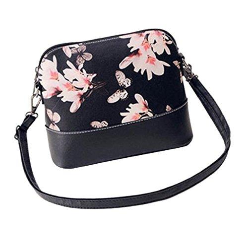 Borsa Familizo Elegant Le donne di stampa della borsa a tracolla in pelle Bauletto Messenger (Nero)