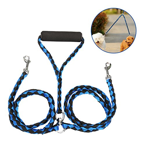 FOCUSPET Double Dog Leash, Dual Dog Leash 4.6 ft 2 Way 360° No Tangle Coupler Double Dog Lead Leashes Pet Twin Leash for Large Medium Small Dogs