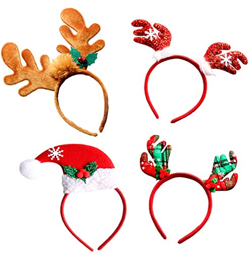Christmas Headbands, Jeniulet 4 Pack Reindeer Antler and Santa Hat Headband Hats for Kids Adults