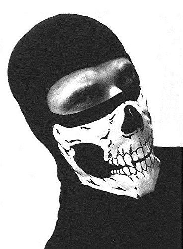 Pasamontañas con 1agujero, negro, 100% algodón, diseño de calavera blanca, cabeza M51617222, para Airsoft
