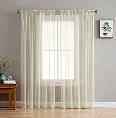 HLC.ME Beige Sheer Voile Window Treatment Rod Pocket Curtain Panels for Kitchen, Bedroom and Living Room (54 x 90 inches Long, Set of 2)