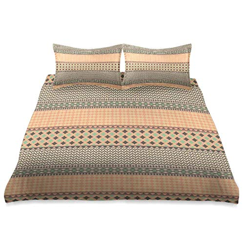 Duvet Cover,Primitive African Ornament with Geometric Borders Native Traditional Tile,3 Pieces Microfiber Bedding Set Ultra Softness Comfortable Modern Design
