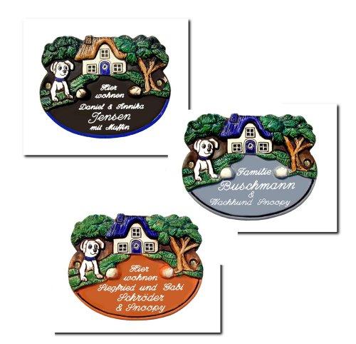 Keramik Türschild 20x16 cm Keramikschild mit Hunde-Motiv, AUSWAHL IN DREI FARBEN, inklusive Wunschgravur, auch als Klingelschild lieferbar