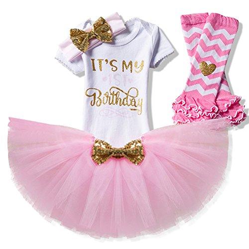 NNJXD Mädchen Neugeborene Es ist mein 1. Geburtstag 4 Stück Outfits Strampler + Rock + Stirnband (+ Leggings) Größe (1) Rosa (1 Jahre)
