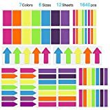 1640 Pcs Colored Flag Index Tabs,Hommie Writable Page Labels Sticky Notes , Fluorescent Neon Page Marker,Bookmarks,Text Highlighter Strips,6 Sizes,7 Colors for Student Teacher Staff