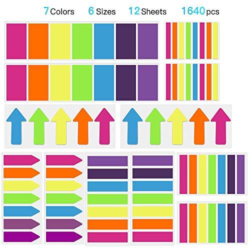 Hommie 1640 Stücke Haftmarker Film, 3 Arten von Textstreifen, 6 Größe (2.4 * 4.5CM, 2.5 * 4.5CM, 1.2 * 4.5CM, 1.2 * 4.5CM, 0.5 * 4.5CM, 4.5 * 0.8CM) Beschriftbare Lesezeichen Marker, 7 Farben
