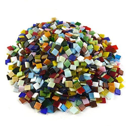 Sinblue 500 Stück Glasmosaik-Fliesen, gemischte Farben, für eigene Mosaik-Herstellung und Heimdekoration – 1 x 1 cm, 300 g