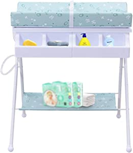 LXCS Baby care station Baby Changing Table  Baby Diaper Table Unit Portable Care Table Multi-function Supplies Newborn Storage Rack Foldable  Color Pink